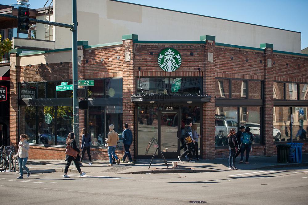 2016 October 11 - People outside Starbucks, University District, Seattle, WA, USA. By Richard Walker