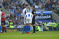 Football - 2018 / 2019 Premier League - Brighton and Hove Albion vs. Southampton<br /> <br /> Lewis Dunk of Brighton listens to Referee Michael Oliver reasons for not awarding a penalty during the Premier League match at The Amex Stadium Brighton  <br /> <br /> COLORSPORT/SHAUN BOGGUST