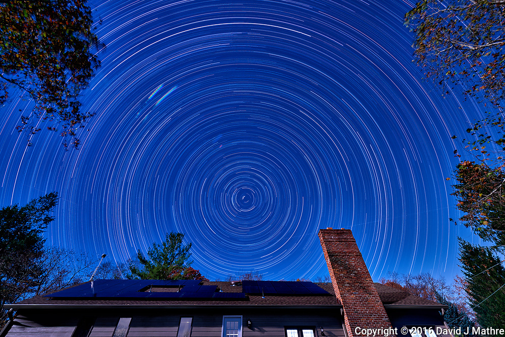 Startrails looking north. The north star isn't exactly due north. Composite of 110 images taken with a Nikon D810a camera and 14-24 mm f/2.8 lens (ISO 200, 14 mm, f/8, 300 sec).