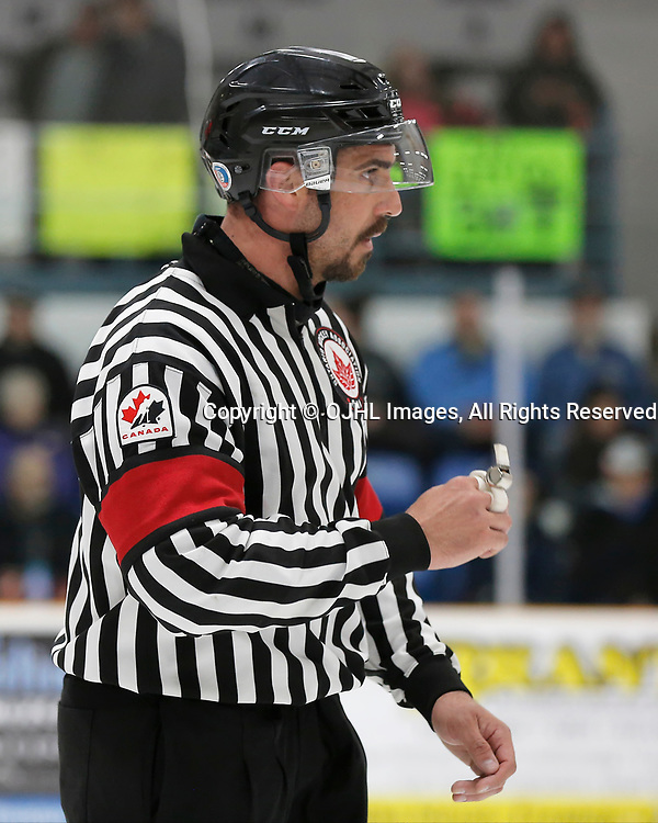 TRENTON, ON - APR 15,  2017: Ontario Junior Hockey League, Championship Series. Georgetown Raiders vs the Trenton Golden Hawks in Game 2 of the Buckland Cup Final. OHA Referee Jesse Wilmot during the first period<br /> (Photo by Amy Deroche / OJHL Images)
