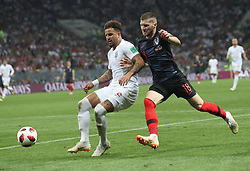 MOSCOW, July 11, 2018  Kyle Walker (L) of England vies with Ante Rebic of Croatia during the 2018 FIFA World Cup semi-final match between England and Croatia in Moscow, Russia, July 11, 2018. Croatia won 2-1 and advanced to the final. (Credit Image: © Cao Can/Xinhua via ZUMA Wire)