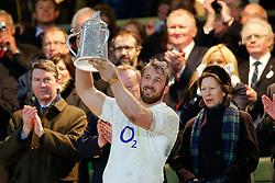 England Captain Chris Robshaw lifts the Calcutta Cup after his side defeat Scotland - Photo mandatory by-line: Rogan Thomson/JMP - 07966 386802 - 14/03/2015 - SPORT - RUGBY UNION - London, England - Twickenham Stadium - England v Scotland - 2015 RBS Six Nations Championship.