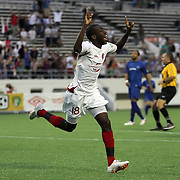 Orlando City Lions Midfielder Kevin Molino (18) celebrates after he scores a goal during a United Soccer League Pro soccer match between the Pittsburgh Riverhounds and the Orlando City Lions at the Florida Citrus Bowl on May 14, 2011 in Orlando, Florida. Orlando won the game 1-0. (AP Photo/Alex Menendez)