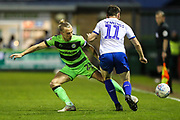 Forest Green Rovers Joseph Mills(23) and Tranmere Rovers Connor Jennings(11) during the EFL Sky Bet League 2 second leg Play Off match between Forest Green Rovers and Tranmere Rovers at the New Lawn, Forest Green, United Kingdom on 13 May 2019.