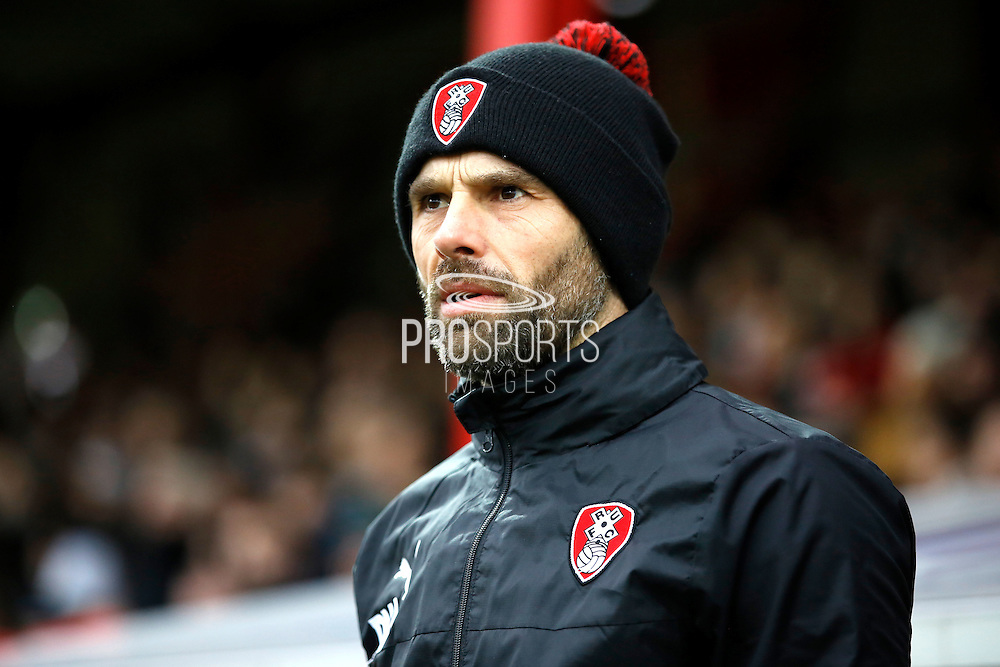 Rotherham United first team manager Paul Warne during the EFL Sky Bet Championship match between Brentford and Rotherham United at Griffin Park, London, England on 25 February 2017. Photo by Andy Walter.