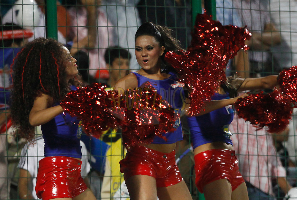 Delhi Daredevils cheerleaders during match 30 of the Indian Premier League ( IPL ) Season 4 between the Delhi Daredevils and the Royal Challengers Bangalore held at the Feroz Shah Kotla Stadium in Delhi, India on the 26th April 2011..Photo by Pankaj Nangia/BCCI/SPORTZPICS