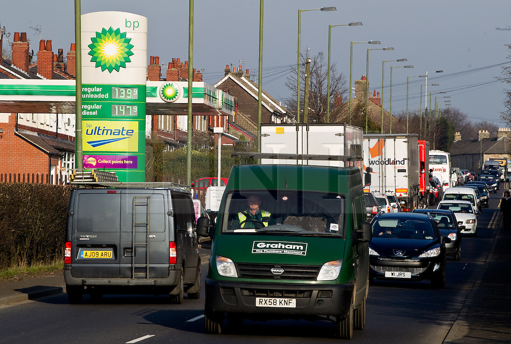 © licensed to London News Pictures. Hyde, UK  13/03/2012. A BP petrol station on the A57 in Mottram, Greater Manchester, selling diesel fuel at 147.9 pence per litre and unleaded at 139.9 pence per litre. Photo credit should read Joel Goodman/LNP