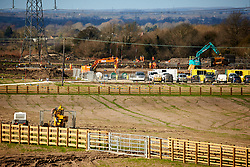 © Licensed to London News Pictures. 11/02/2020. Wendover, UK.  Enabling works continue on the proposed HS2 route near Wendover on the day the Government is expected to give the go-ahead. A number of large electricity grid pylons need to be moved to make way for the controversial high speed railway between London and Birmingham. Taken from a public road. Photo credit: Cliff Hide/LNP