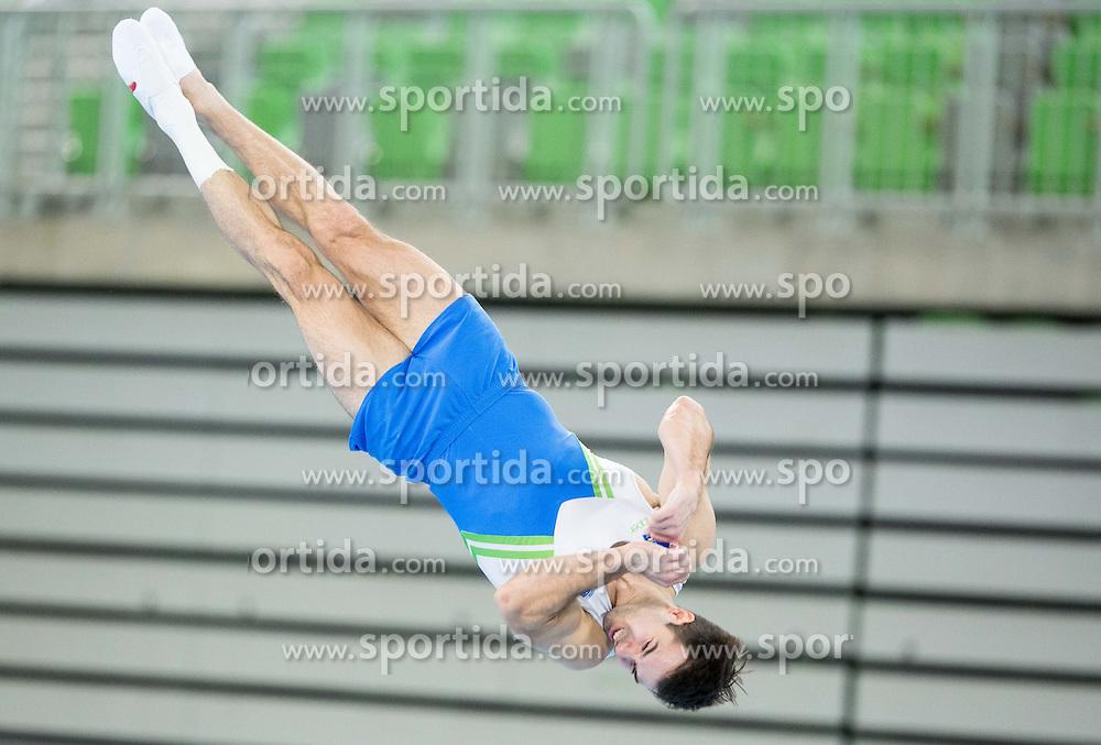Rok Klavora of Slovenia competes in the Floor Exercise during Qualifications of Artistic Gymnastics World Challenge Cup Ljubljana, on April 3, 2015 in Arena Stozice, Ljubljana, Slovenia. Photo by Vid Ponikvar / Sportida