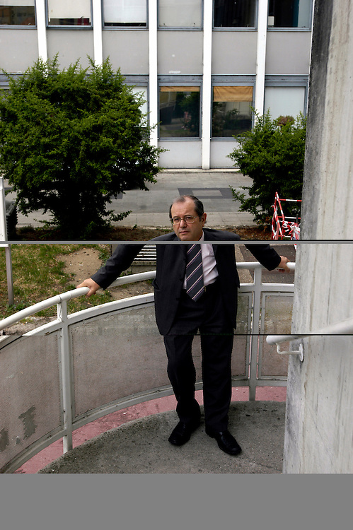 Bernard Bosredon, president of Paris 3, Sorbonne Nouvelle university at the Censier centre. The university facilities are in desperate need of rehabilitation, but can not be done until the buildings have been rid of asbestos and the government approves funding..Paris, France. 12/07/2005..Photo © J.B. Russell