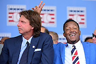 COOPERSTOWN, NY - JULY 26: Hall of Fame inductee Pedro Martínez gives fellow inductee Randy Johnson bunny ears during the Induction Ceremony at National Baseball of Hall of Fame on July 26, 2015 in Cooperstown, New York. (Photo by Jennifer Stewart/Arizona Diamondbacks/Getty Images)