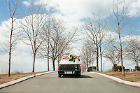 Hartsdale, New York, USA - March 20. The hearse carrying the casket of the deceased Bernice McCants, 72 years old, arrives at the Hartsdale cemetery for the burial on March 20, 2008 in Hartsdale, New York, USA.