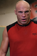 Randy Couture relaxes after working on muay thai drills during a training session ahead of UFC 105 at Straight Blast Gym in Manchester, England on November 11, 2009.