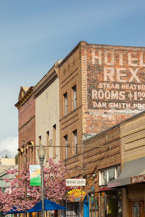 """Downtown Truckee 18"" - Photograph of brick buildings in historic Downtown Truckee, California with a blossoming crabapple tree in the foreground."