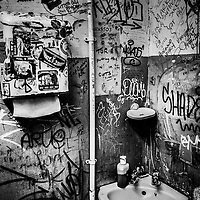 Toilet with graffiti