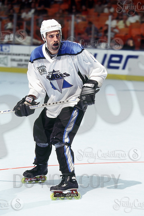 22 August 1996:  Blades player Eric Rice in action during a Roller Hockey International RHI indoor inline hockey game at the Great Western Forum.  Original image scan from negative, print or  transparency.  Image is available for personal or editorial use only.