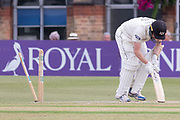 WICKET - Tom Smith is bowled by Chris Wright during the Specsavers County Champ Div 2 match between Gloucestershire County Cricket Club and Leicestershire County Cricket Club at the Cheltenham College Ground, Cheltenham, United Kingdom on 16 July 2019.