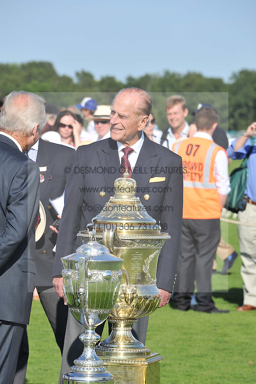 HRH the DUKE OF EDINBURGH at the Audi International Polo Day held at Guards Polo Club, Smith's Lawn, Windsor on 22nd July 2012.