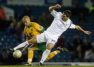 Leeds - Monday October 19th, 2009: Sam Vokes (R) of Leeds United and Jens Berthel Askou of Norwich City during the Coca Cola League One match at Elland Road, Leeds. (Pic by Paul Thomas/Focus Images)..