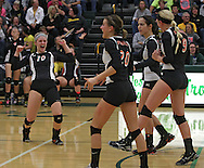 Springville's Kerrigan Riley (10) celebrates a score in the Class 1A regional final match at Iowa City West High School in Iowa City on Wednesday, November 6, 2013. Springville defeated New London 3-2.