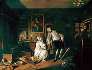Marriage a la Mode: The Bagnio', 1743. Oil on canvas.Wiliam Hogarth (1697-1764) English painter, printmaker, and cartoonist.  Earl killed by wife's lover. Fifth image of satirical moral series on aristocratic marriage arranged for money.