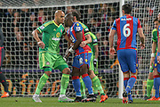 Sunderland defender Younes Kaboul marking Crystal Palace midfielder Yannick Bolasie  during the Barclays Premier League match between Crystal Palace and Sunderland at Selhurst Park, London, England on 23 November 2015. Photo by Simon Davies.