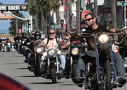 March 8, 2019 - Daytona, FL, United States - Motorcyclists parade down Main Street on March 8, 2019 for the opening day of Bike Week in Daytona Beach, Florida. The 10-day event, which draws thousands of motorcycle riders and enthusiasts from around the world, is celebrating its 78th year. (Credit Image: © Paul Hennessy/NurPhoto via ZUMA Press)