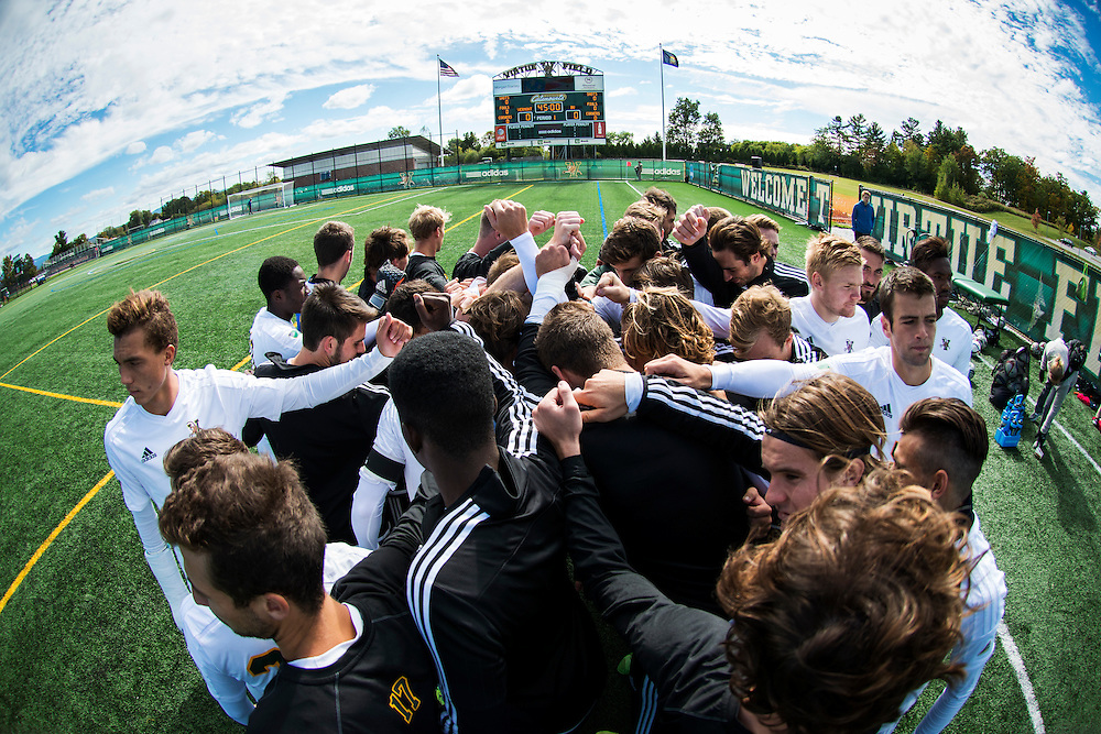 The men's soccer game between the Binghamton Bearcats and the Vermont Catamounts at Virtue Field on Saturday afternoon October 3, 2015 in Burlington, Vermont.