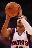Apr 26, 2010; Phoenix, AZ, USA; Phoenix Suns guard Leandro Barbosa (10) shots a free throw during the second quarter in game five in the first round of the 2010 NBA playoffs at the US Airways Arena.  Mandatory Credit: Jennifer Stewart-US PRESSWIRE