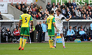 Swansea City's Michu has words with Norwich City's Bradley Johnson.<br /> Barclays premier league match , Swansea city v Norwich city at the Liberty stadium in Swansea, South Wales on Saturday 29th March 2014.<br /> pic by Phil Rees, Andrew Orchard sports photography.