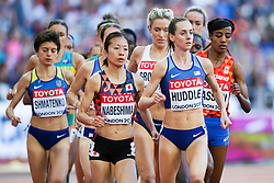 London, August 10 2017 . Molly Huddle, USA, leads Rina Nabeshima, Japan, in the women's 5,000m heats on day seven of the IAAF London 2017 world Championships at the London Stadium. © Paul Davey.