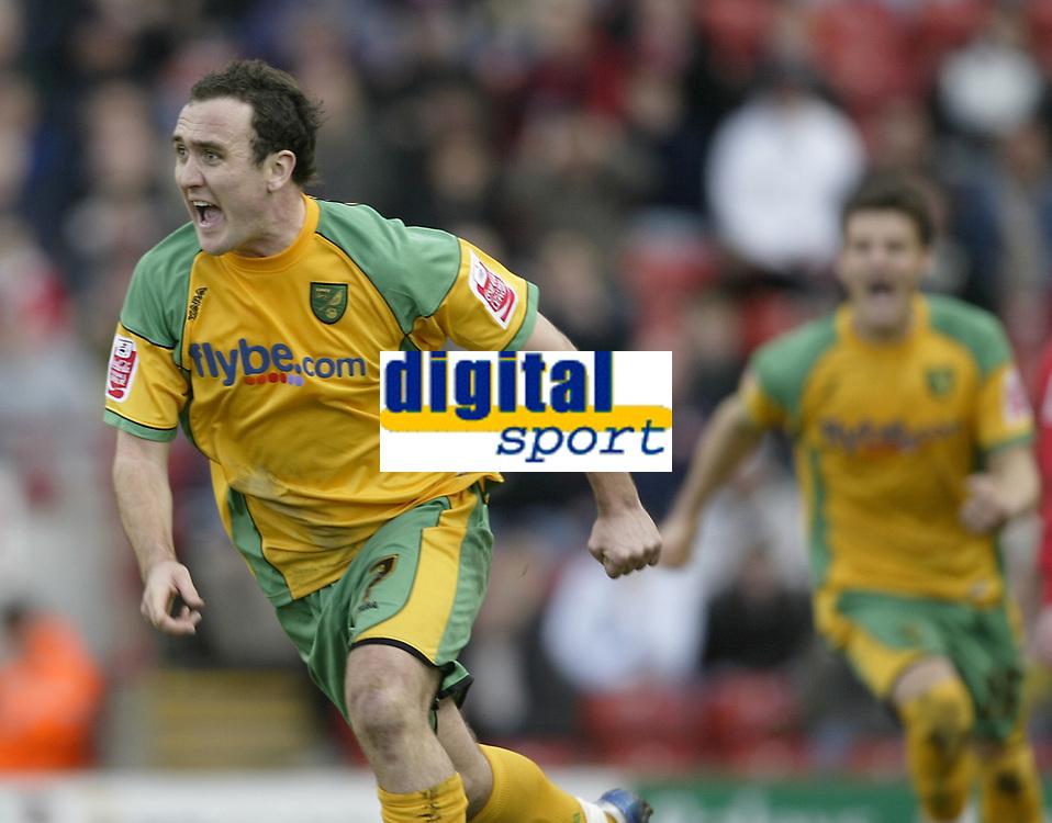 Photo: Aidan Ellis.<br /> Barnsley v Norwich City. Coca Cola Championship. 03/03/2007.<br /> Norwich's  Lee Croft celebrates his goal and teams second