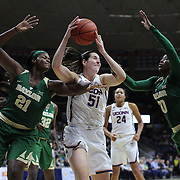STORRS, CONNECTICUT- NOVEMBER 17: Natalie Butler #51 of the UConn Huskies reopens while challenged by Kalani Brown #21 of the Baylor Bears and Alexis Jones #30 of the Baylor Bears during the UConn Huskies Vs Baylor Bears NCAA Women's Basketball game at Gampel Pavilion, on November 17th, 2016 in Storrs, Connecticut. (Photo by Tim Clayton/Corbis via Getty Images)