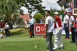 October 11, 2017 - Kuala Lumpur, MALAYSIA - Thomas Pieters(C) of Belgium and Prime Minister of Malaysia Najib Razak(1st R) during the PRO-AM day of the CIMB Classic 2017 at TPC Kuala Lumpur on October 11, 2017 in Kuala Lumpur, Malaysia. (Credit Image: © Chris Jung via ZUMA Wire)