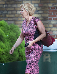 © Licensed to London News Pictures. 27/08/2019. London, UK. Independent Group for Change leader Anna Soubry emerges from a meeting with Labour Party Leader Jeremy Corbyn held in Parliament between opposition parties to discuss steps to stop a No-Deal Brexit. Photo credit: Peter Macdiarmid/LNP