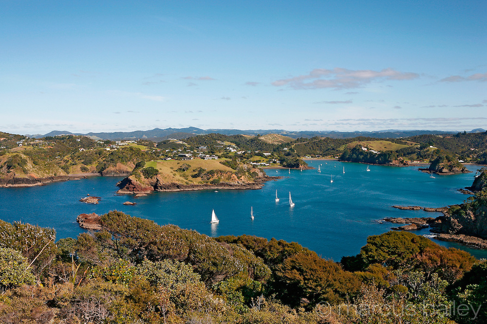 yachts sail peacefully around the islands and secluded bays of tutukaka, northland coast, new zealand