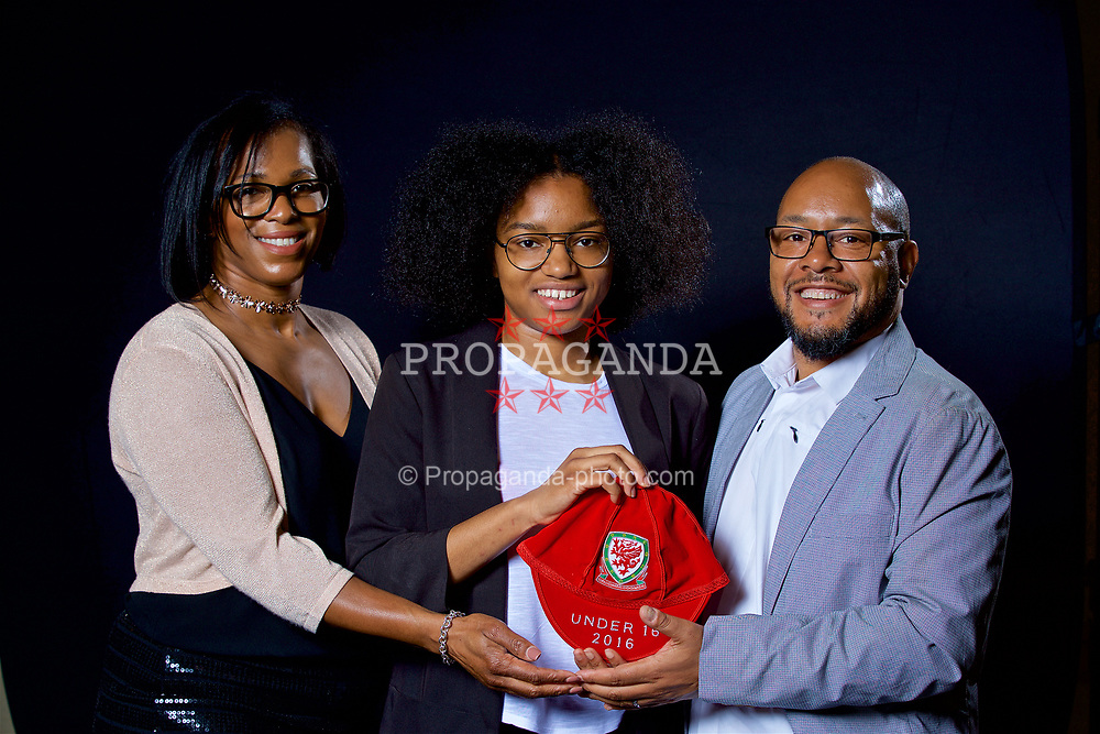 NEWPORT, WALES - Saturday, May 27, 2017: Bailiey Cordice and her family with her Under-16 Wales cap at the Celtic Manor Resort. (Pic by David Rawcliffe/Propaganda)