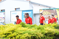 BRATISLAVA, SLOVAKIA - Thursday, October 10, 2019: Wales' Neil Taylor and Rabbi Matondo during a pre-match team walk near the Hotel NH Bratislava Gate One ahead of the UEFA Euro 2020 Qualifying Group E match between Slovakia and Wales. (Pic by David Rawcliffe/Propaganda)