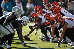 OAKLAND, CA - NOVEMBER 17: General view of the line of scrimmage during the second quarter between the Oakland Raiders and the Cincinnati Bengals at RingCentral Coliseum on November 17, 2019 in Oakland, California. The Oakland Raiders defeated the Cincinnati Bengals 17-10. (Photo by Jason O. Watson/Getty Images) *** Local Caption ***