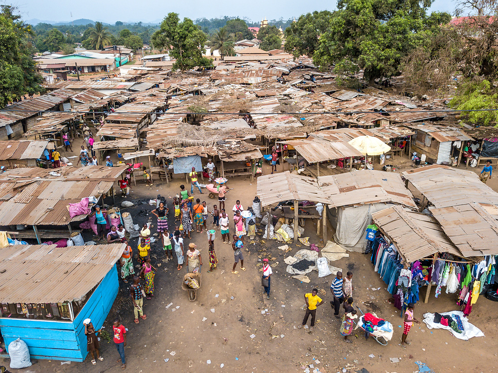 Overhead view of the market in Ganta, LiberiaGanta, Liberia