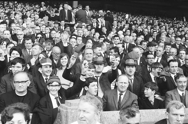An enthusiastic crowd cheering during the All Ireland Senior Gaelic Football Final Kerry v Down in Croke Park on the 22nd September 1968. Down 2-12 Kerry 1-13.
