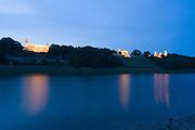Elbe, Elbschloesser bei Daemmerung, Dresden, Sachsen, Deutschland. .Dresden, Germany, river Elbe, Elbe Castles at dusk