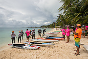 Ironman crew right before the kickoff prone distance race on Day 1 on Bora Bora, French Polynesia.