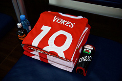 TBILSI, GEORGIA - Friday, October 6, 2017: The shirt of Wales' Sam Vokes laid out in the dressing room before the 2018 FIFA World Cup Qualifying Group D match between Georgia and Wales at the Boris Paichadze Dinamo Arena. (Pic by David Rawcliffe/Propaganda)