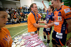 Rasto Oderlap and Alen Pajenk at final match of Slovenian National Volleyball Championships between ACH Volley Bled and Salonit Anhovo, on April 24, 2010, in Radovljica, Slovenia. ACH Volley defeated Salonit 3rd time in 3 Rounds and became Slovenian National Champion.  (Photo by Vid Ponikvar / Sportida)