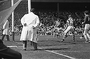Slitor rolls towards the Cork goal as players surround it during at the All Ireland Senior Hurling Final, Cork v Kilkenny in Croke Park on the 3rd September 1972. Kilkenny 3-24, Cork 5-11.