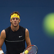 Juan Martin Del Potro, Argentina, in action against Marin Cilic, Croatia, during the US Open Tennis Tournament at Flushing Meadows, New York, USA, on Thursday, September 10, 2009. Photo Tim Clayton