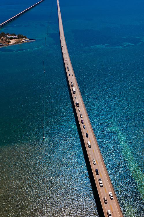 Aerial View of the Seven Mile Bridge, Florida Keys, Florida USA