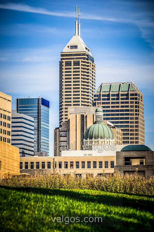 indianapolis cityscape downtown city buildings