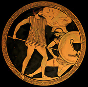 Poseidon fighting Polybotes. Tondo of an Attic red-figure kylix, ca. 475-470 BC. Found in Vulci, Etruria.